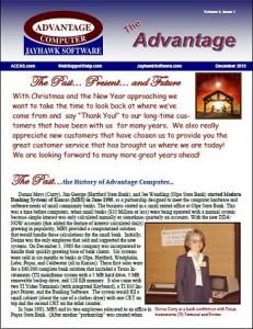 advantage, newsletters, jayhawk software, advantage computer