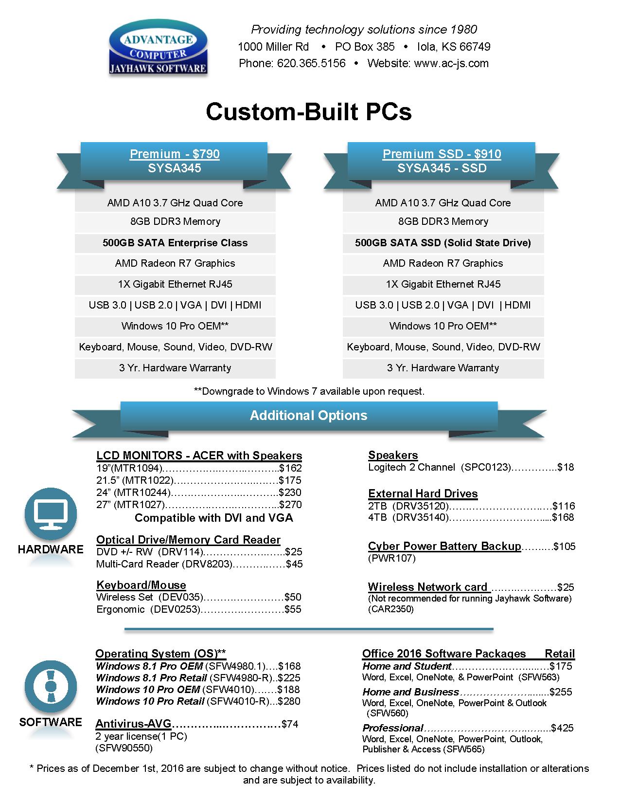 custom built PCs, computer, sale, SSD, advantage computers, jayhawk software